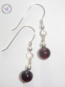 January Birthstone Garnet & Silver Earrings